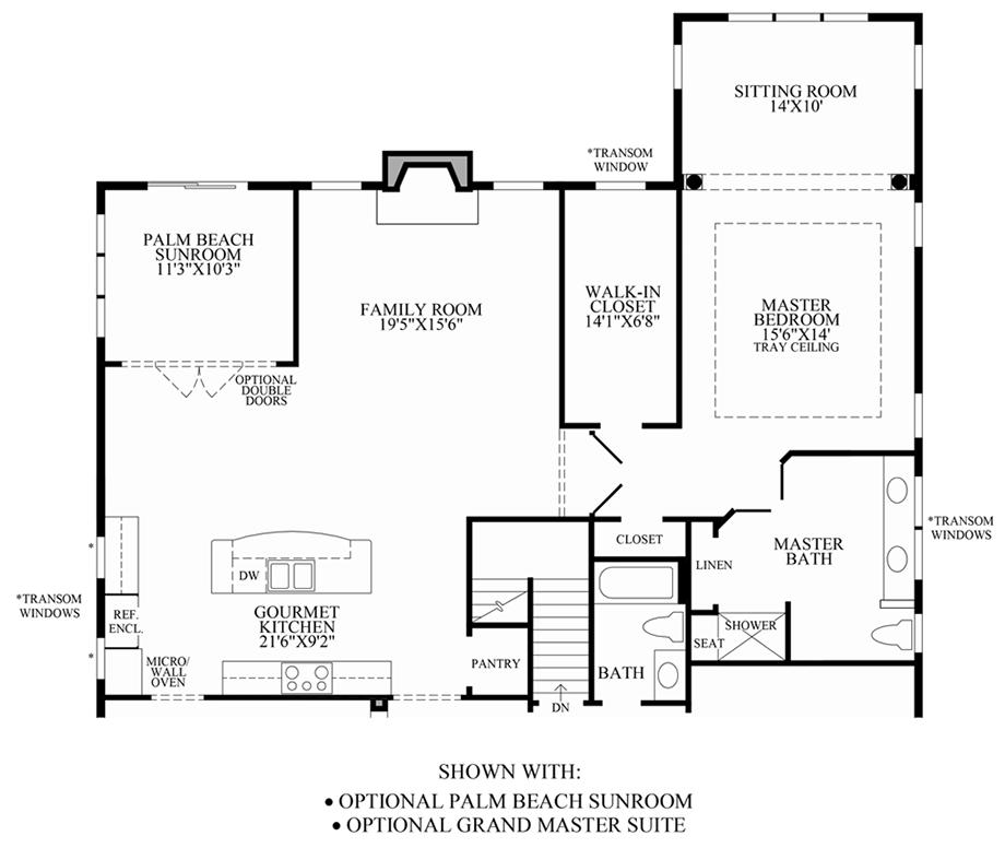 Optional Palm Beach Sunroom & Grand Master Suite Floor Plan