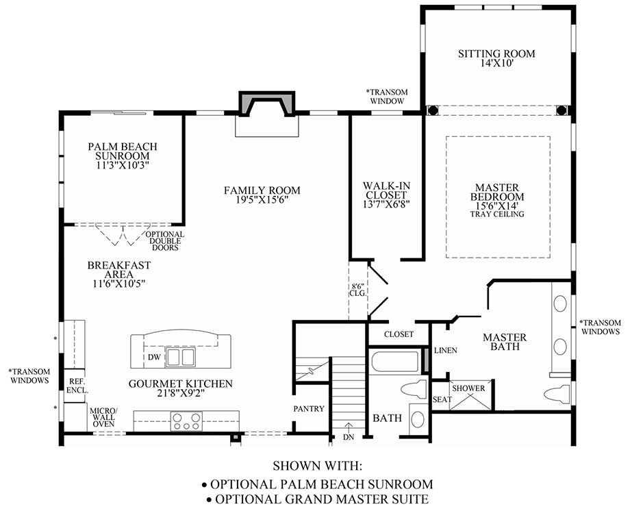 Optional Palm Beach Sunroom/Grand Master Suite Floor Plan