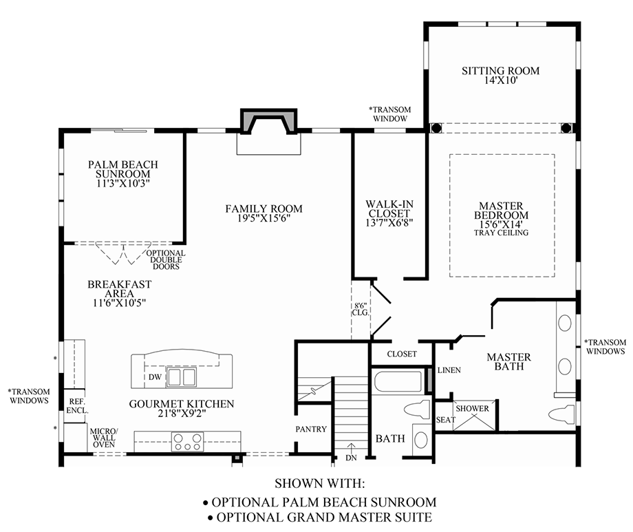 Optional Palm Beach Sunroom & Grand Master Suite Floor Plan