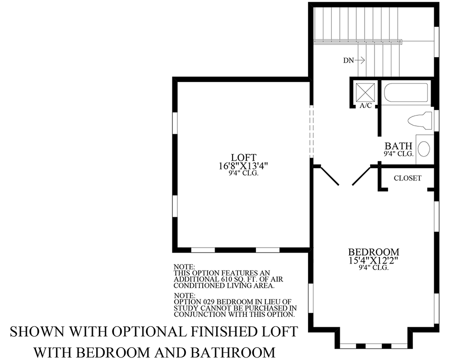 Optional Finished Loft w/ Bedroom & Bath Floor Plan
