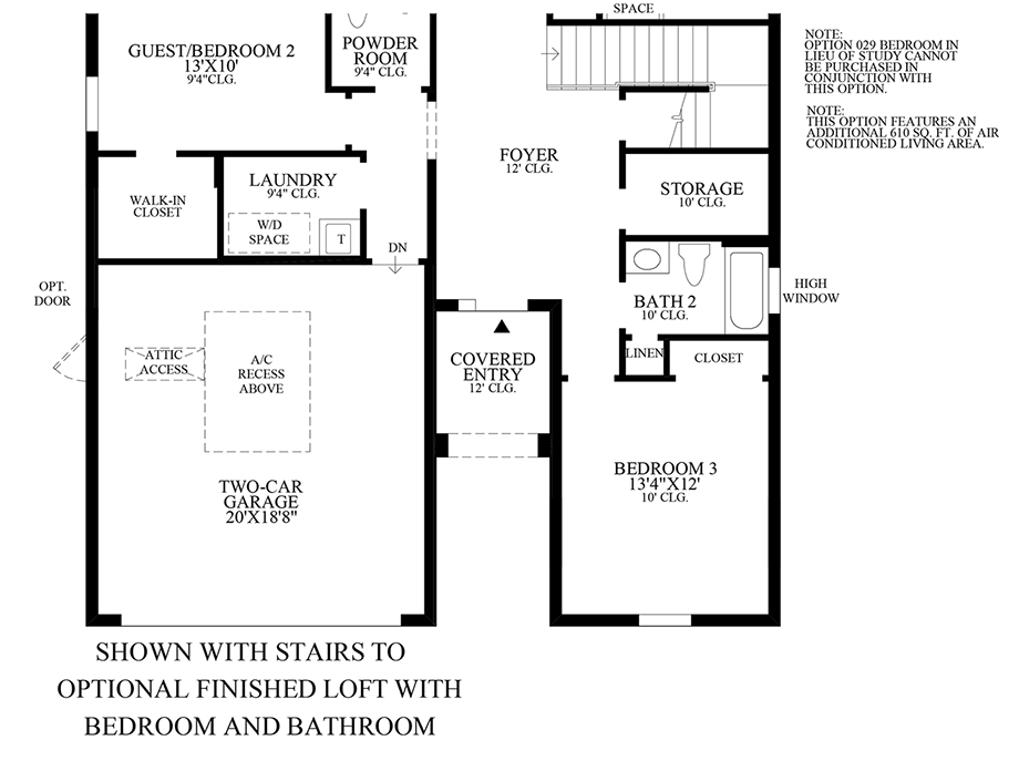 Optional Stairs to Finished Loft w/ Bedroom & Bath Floor Plan