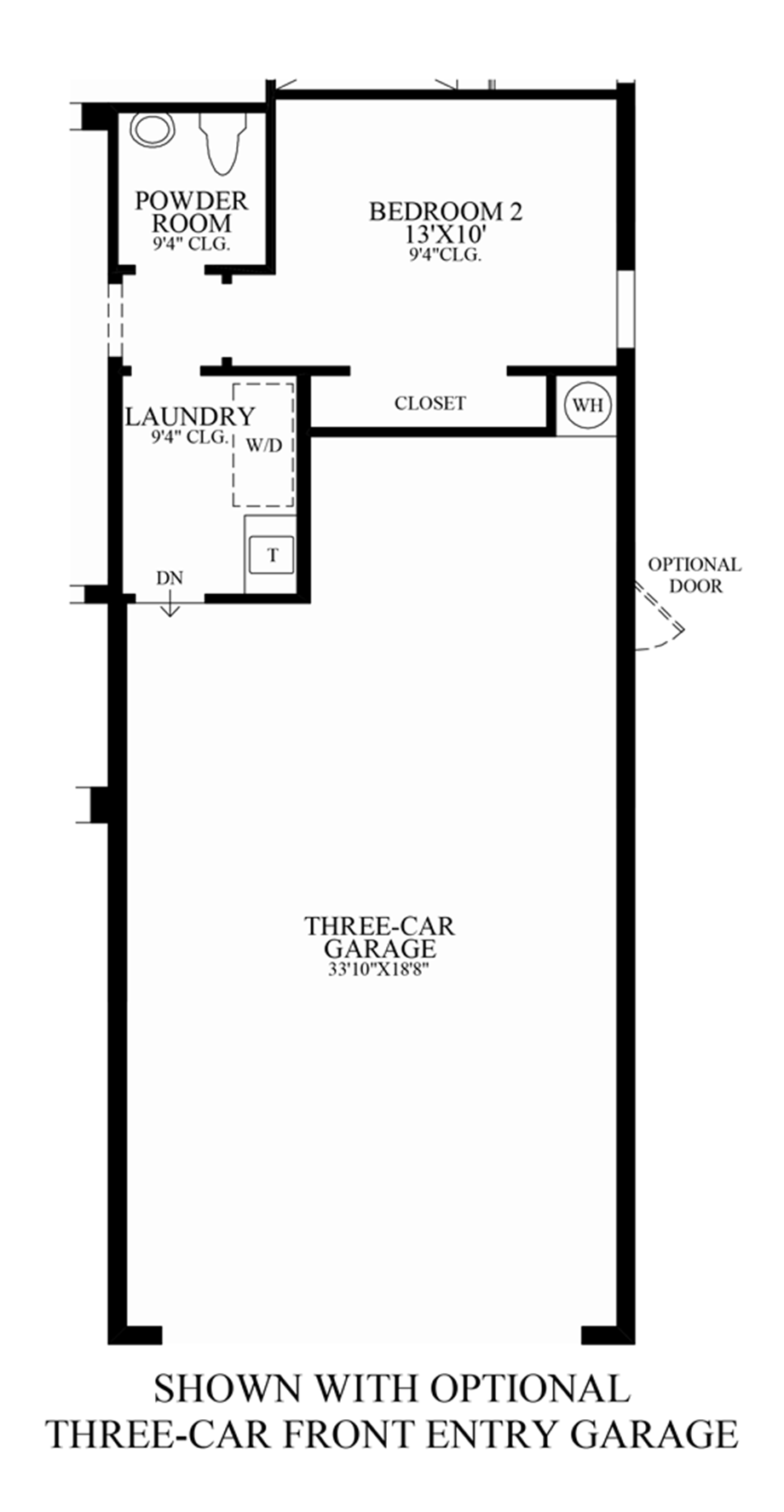 Optional 3-Car Front-Entry Garage Floor Plan