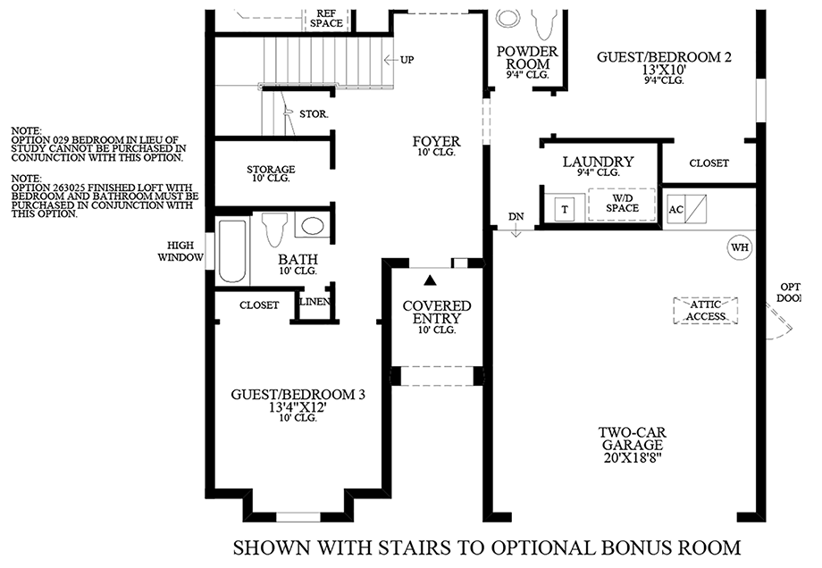 Stairs to Optional Finished Loft with Bedroom and Bathroom Floor Plan