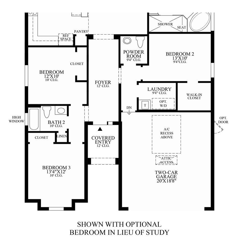 Optional Bedroom in Lieu of Study Floor Plan