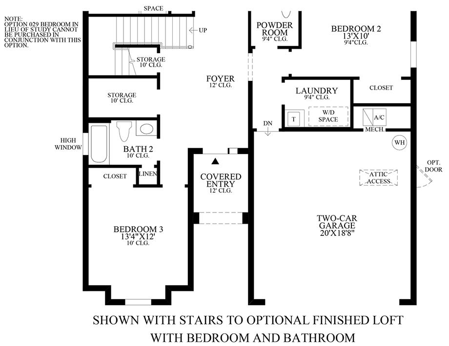 Optional Stairs to Finished Loft w/ Bedroom & Bathroom Floor Plan
