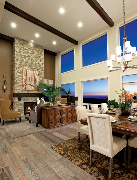 Grand Fireplace W Vaulted Ceilings Beams Open Floor: Bellevue WA New Homes For Sale