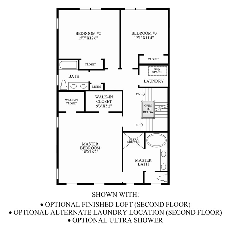 Optional Finished Loft, Alternate Laundry Location & Ultra Shower (2nd Floor) Floor Plan