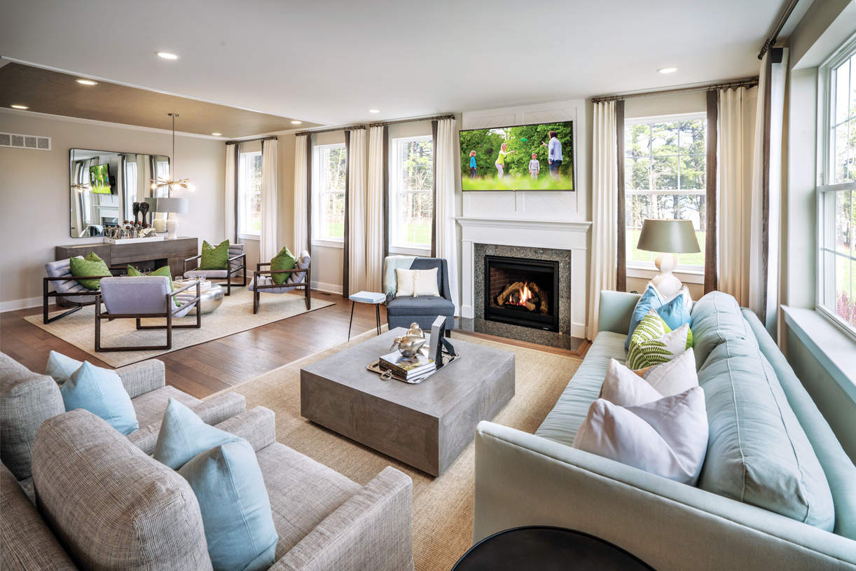 Expansive great room shown with optional designer fireplace