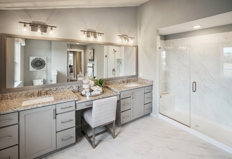 Spa-like primary bath with dual vanity sinks