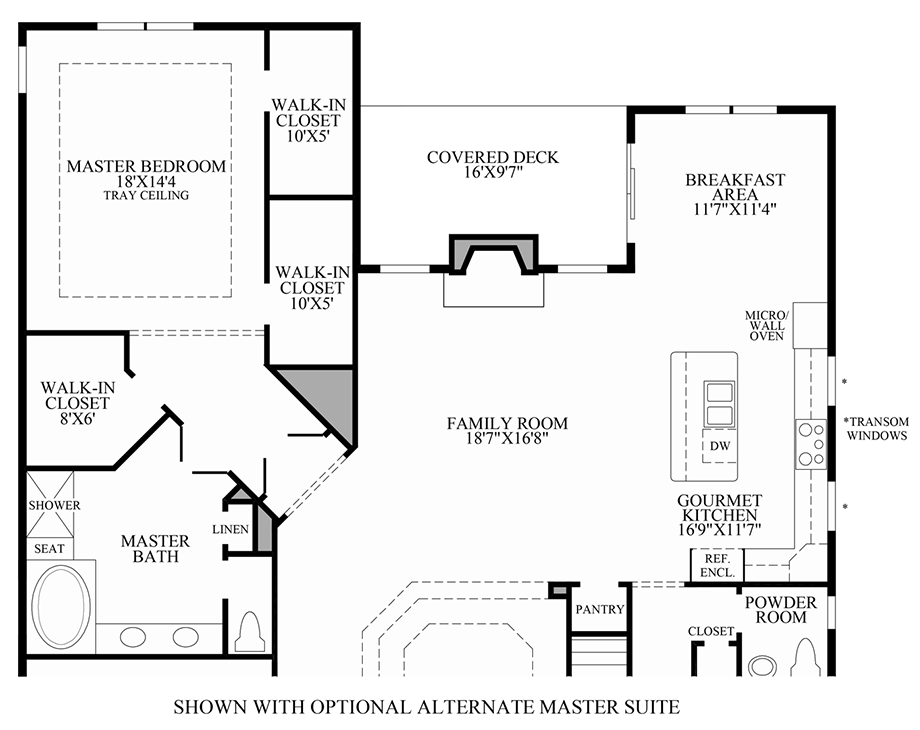 Optional Alternate Master Suite Floor Plan