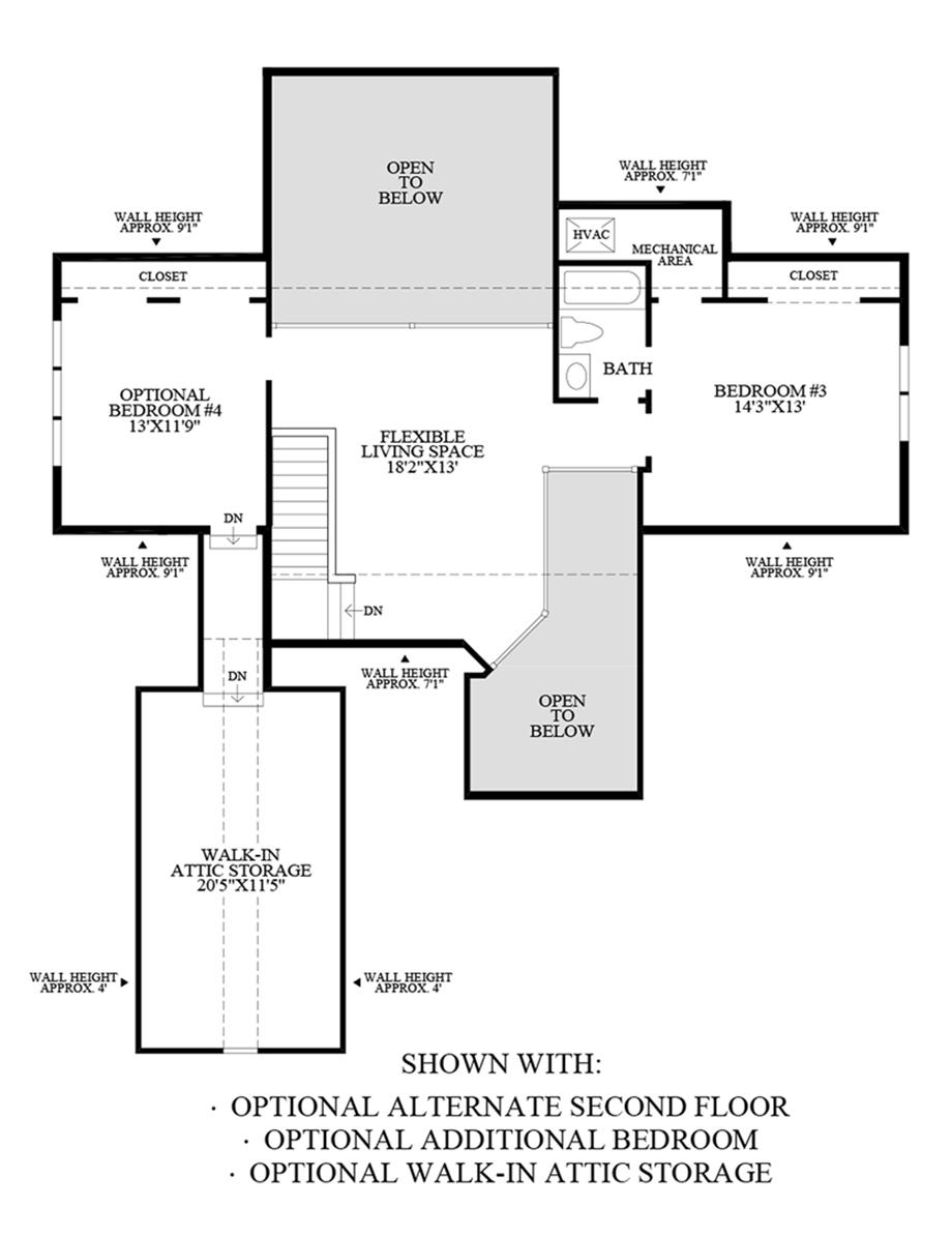 Optional Alternate Second Floor, Additional Bedroom and Walk-In Attic Storage Floor Plan