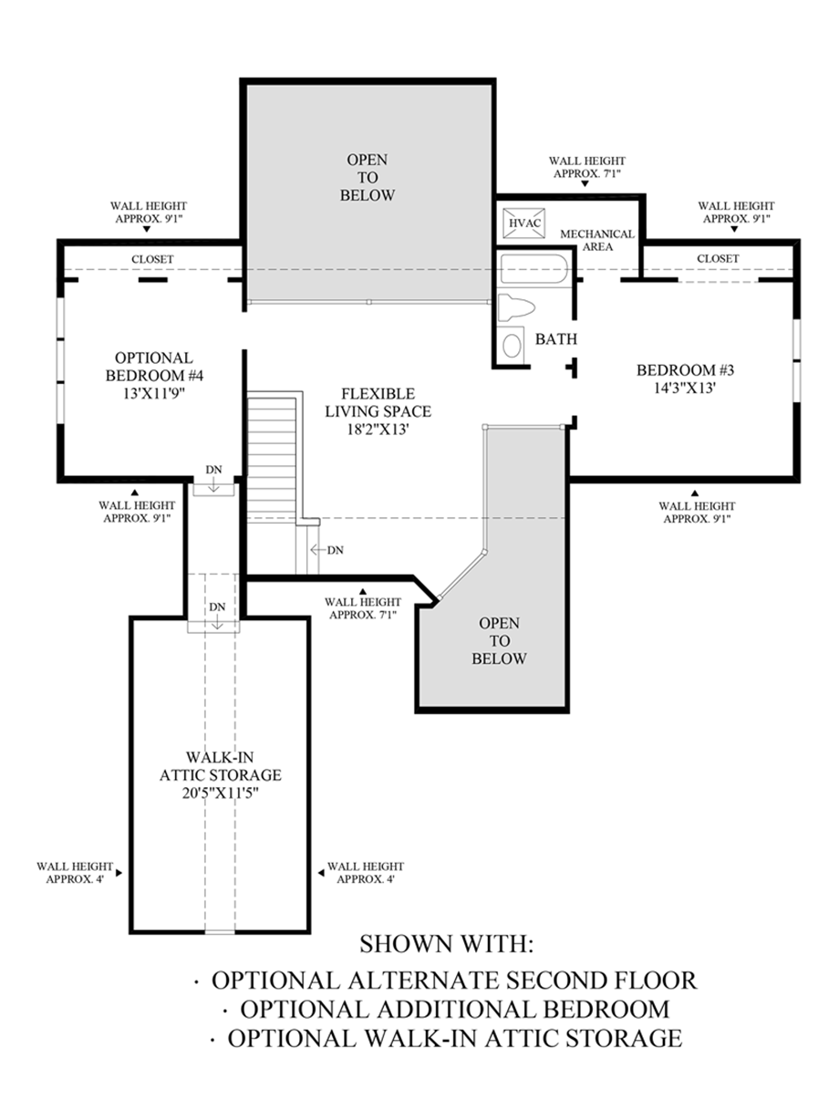 Optional Alternate Second Floor, Additional Bedroom and Walk-In Attic Storage