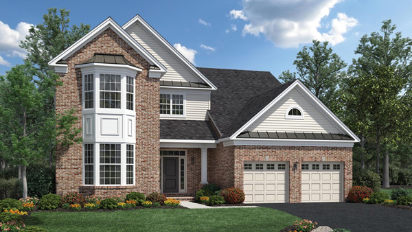 Image of the Merrimack home design with white siding and brick finish located in the Regency at Monroe Community