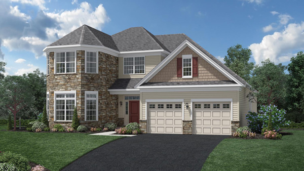 Image of the Merrimack home design with tan siding and stone finish located in the Regency at Monroe Community