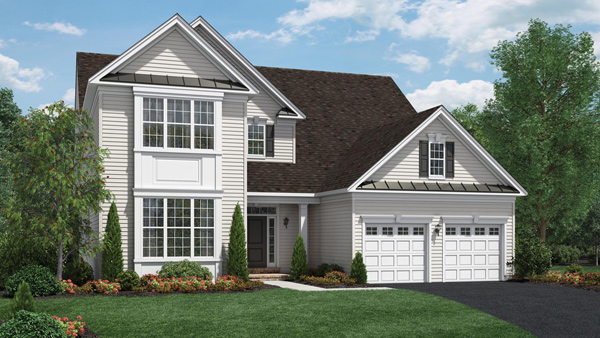 Image of the Merrimack home design with white siding located in the Regency at Monroe Community