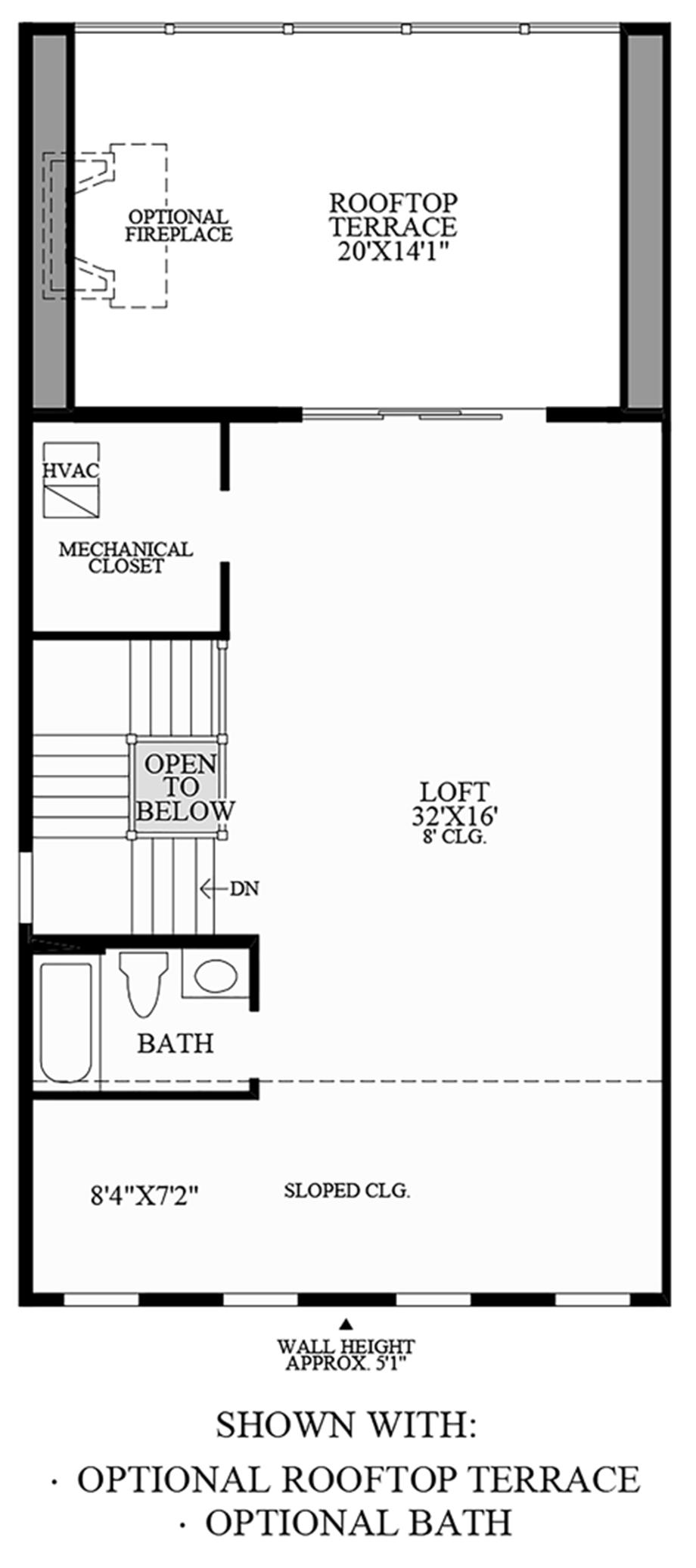 Optional Rooftop Terrace and Optional Bath Floor Plan