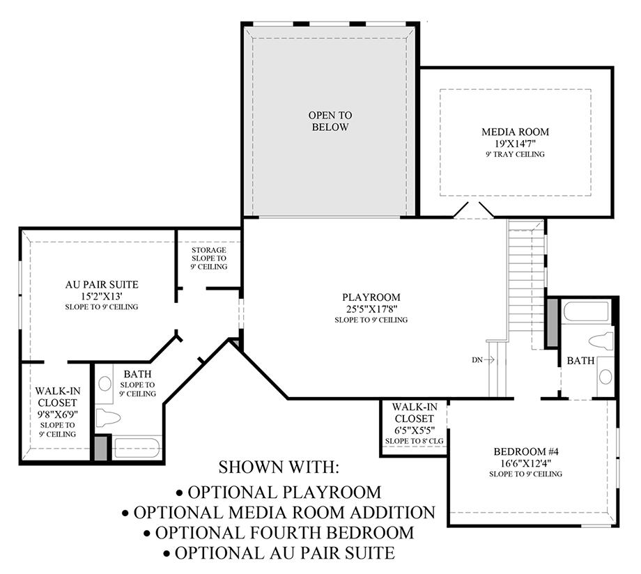 Optional Playroom, Media Room, 4th Bedroom & Au Pair Suite Floor Plan