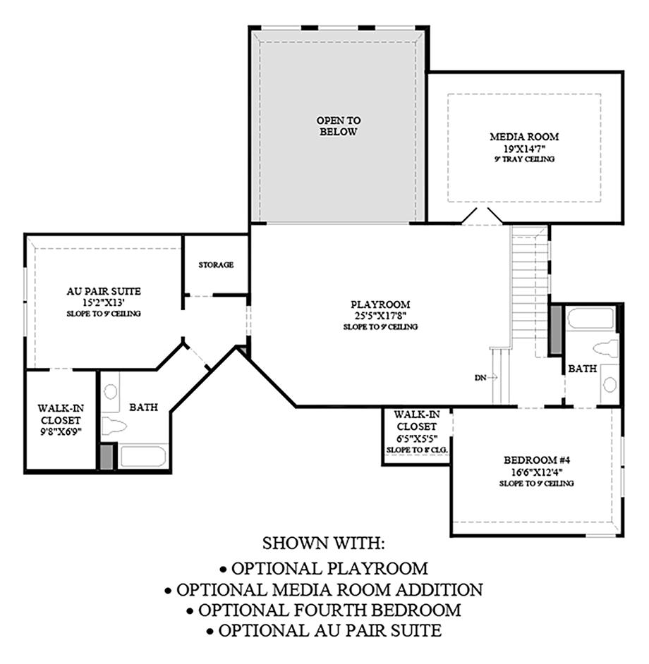 Optional Playroom, Media Room Addition, 4th Bedroom, & Au Pair Suite  Floor Plan