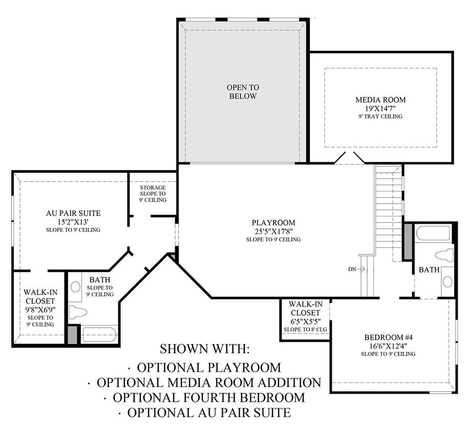 Optional Playroom, Media Room Addition, 4th Bedroom & Au Pair Suite Floor Plan