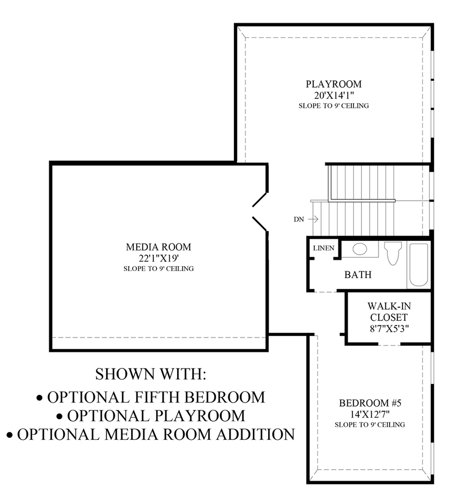 Optional 5th Bedroom, Playroom & Media Room Addition Floor Plan