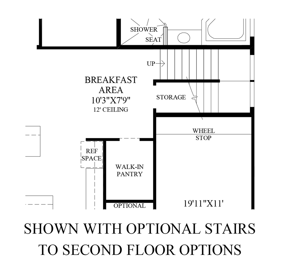 Optional Stairs to 2nd Floor Options Floor Plan