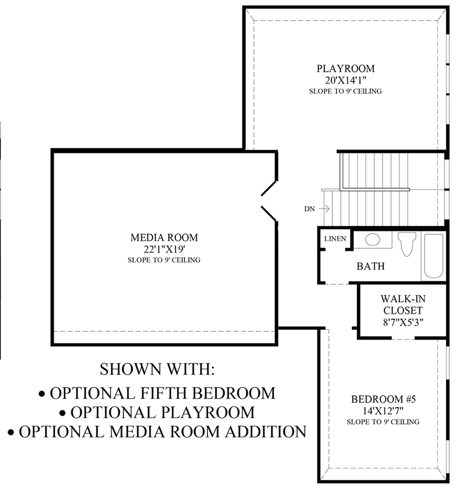 Optional 5th Bedroom, Playroom & Media Room Addition Floor Plan
