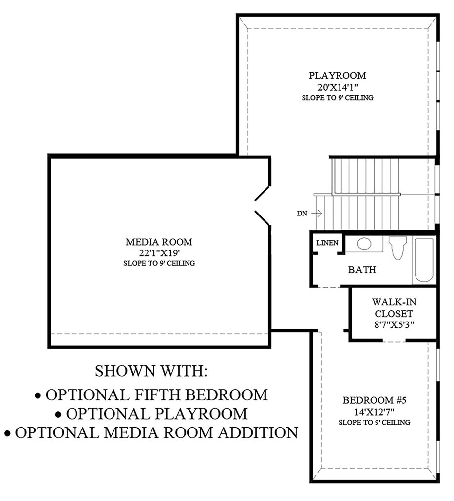 Optional Fifth Bedroom, Playroom, and Media Room Addition Floor Plan