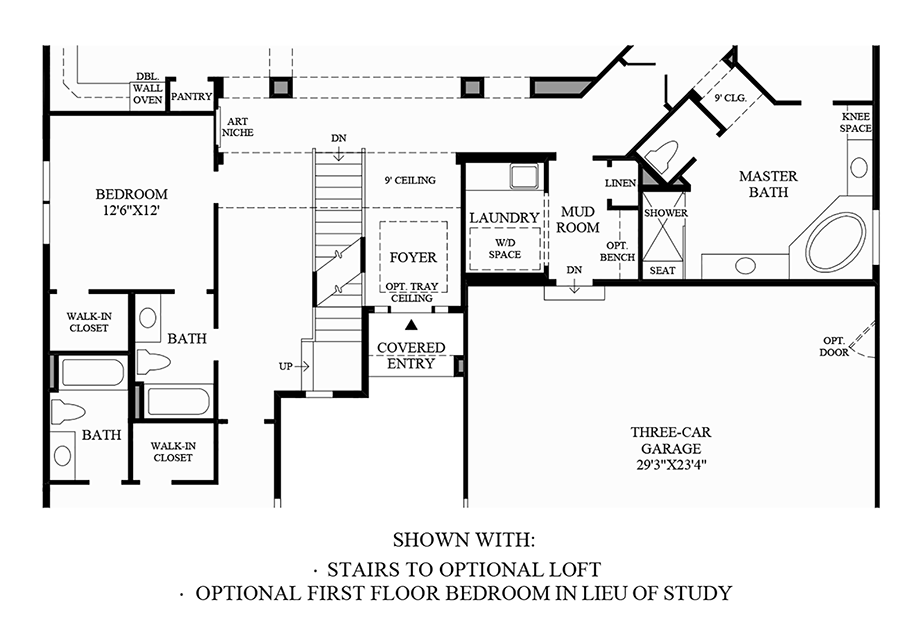 Stairs to Optional Loft and Optional First Floor Bedroom ILO Study Floor Plan