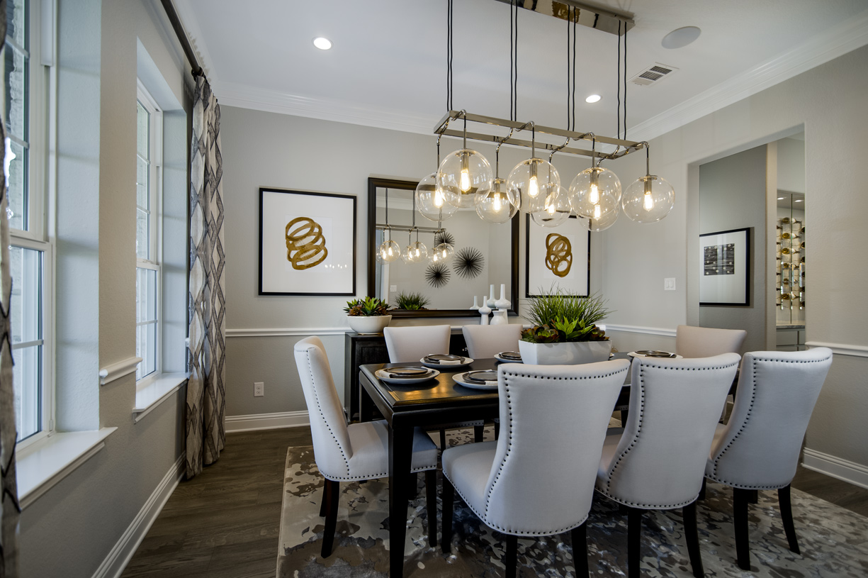 Elegant formal dining room by dramatic entry