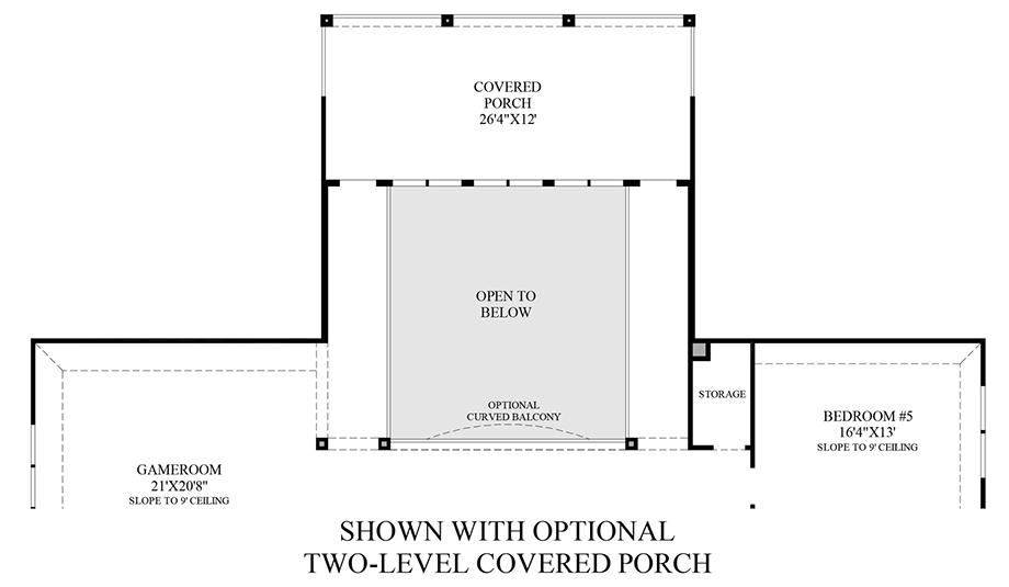 Optional Two-Level Covered Porch (2nd Floor) Floor Plan