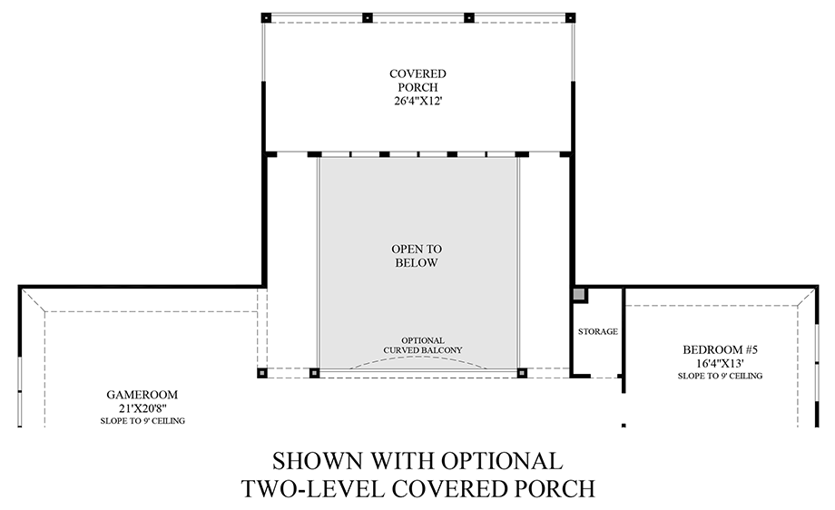 Optional Covered Porch Addition (2nd Floor) Floor Plan