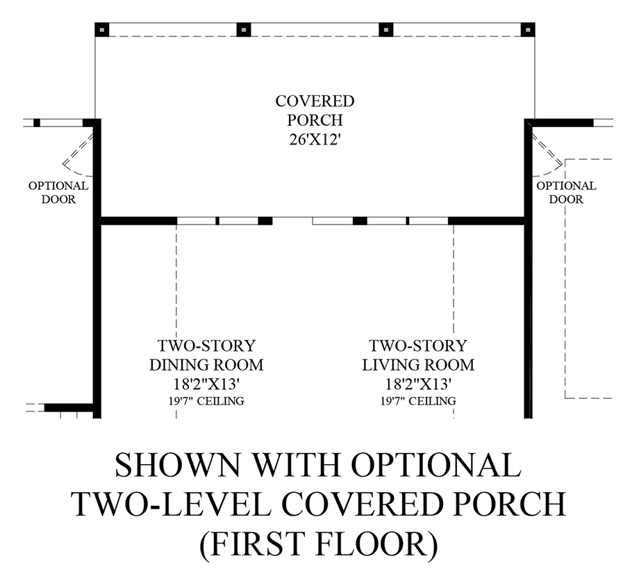 Optional Two-Level Covered Porch - 1st Floor Floor Plan