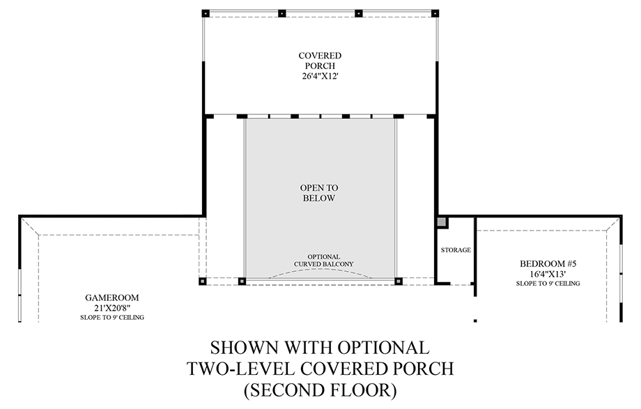 Optional Two-Level Covered Porch - 2nd Floor Floor Plan