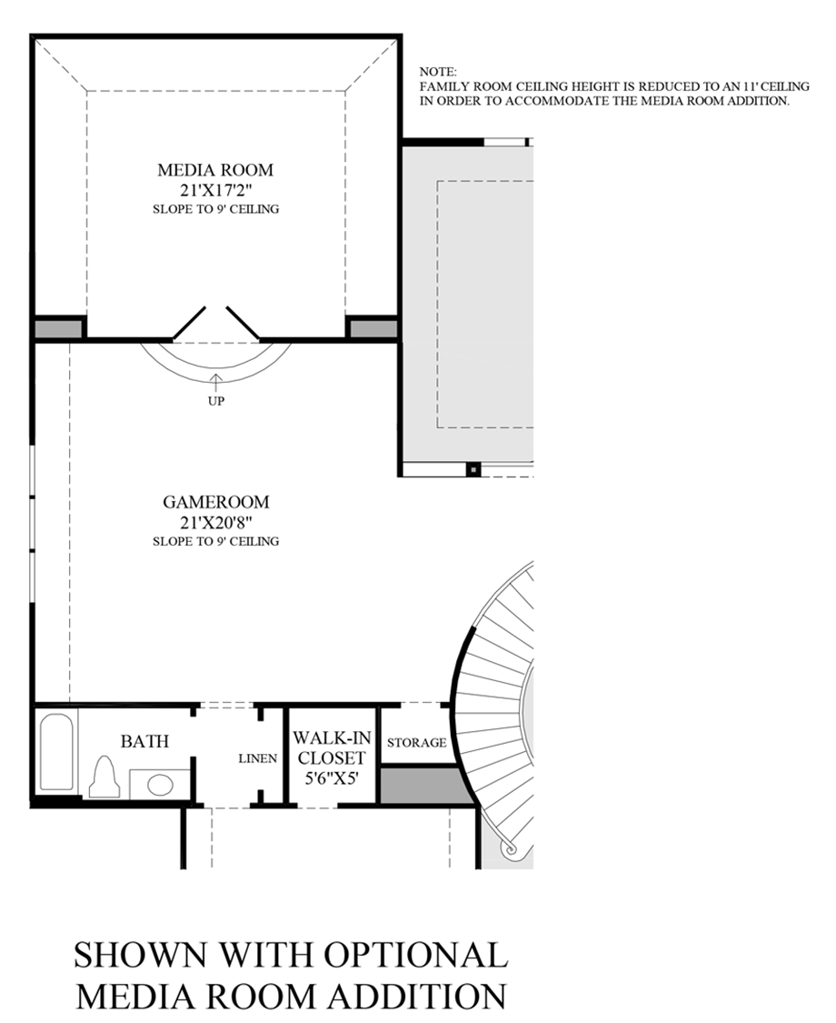 Optional Media Room Addition - 2nd Floor Floor Plan