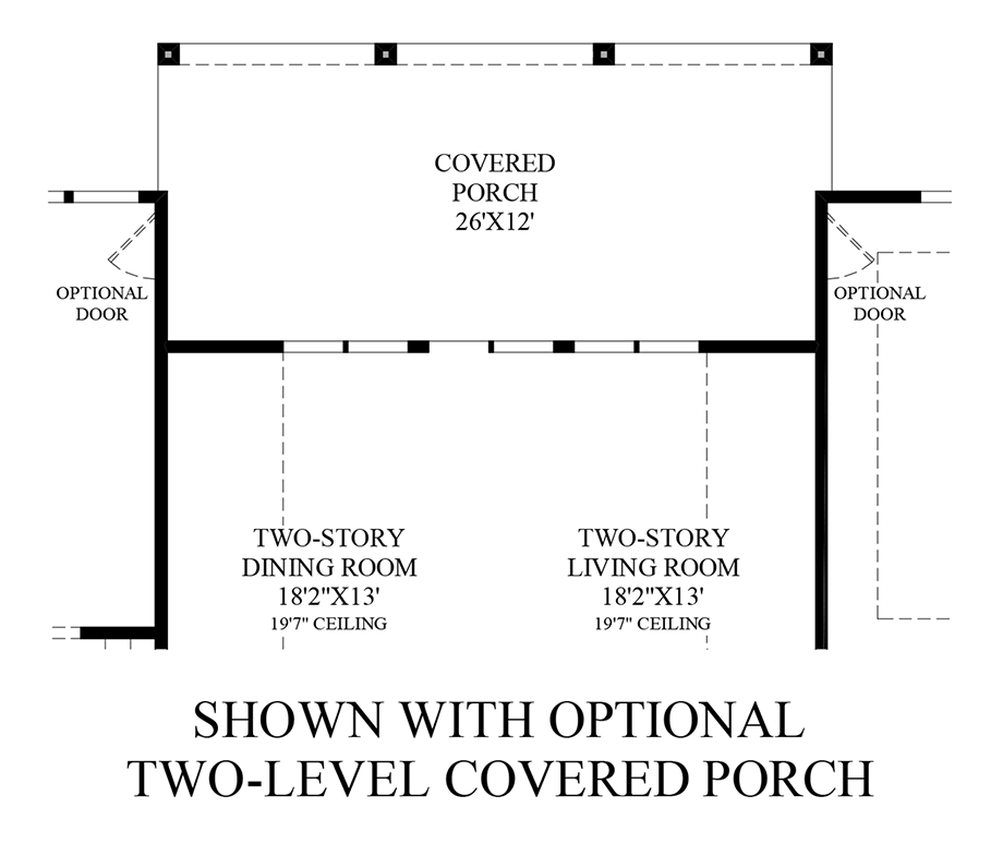 Optional 2 Level Covered Porch (1st Floor) Floor Plan