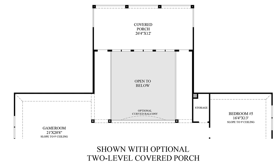 Optional 2 Level Covered Porch (2nd Floor) Floor Plan