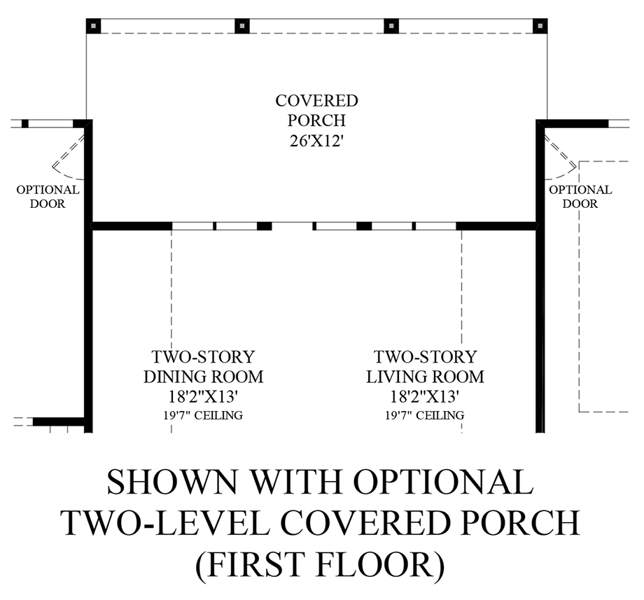 Optional Two-Level Covered Porch (1st Floor) Floor Plan