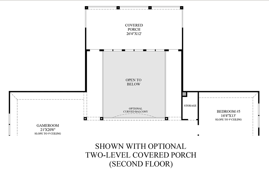 Optional 2-Level Covered Porch - 2nd Floor Floor Plan