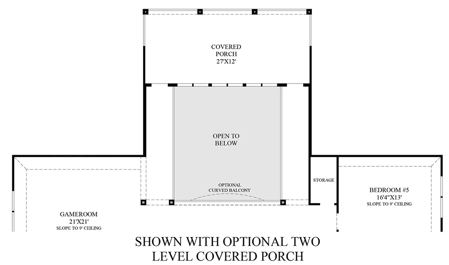 Optional Two Level Covered Porch (2nd Floor) Floor Plan