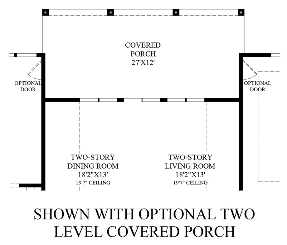 Optional Two Level Covered Porch (1st Floor) Floor Plan