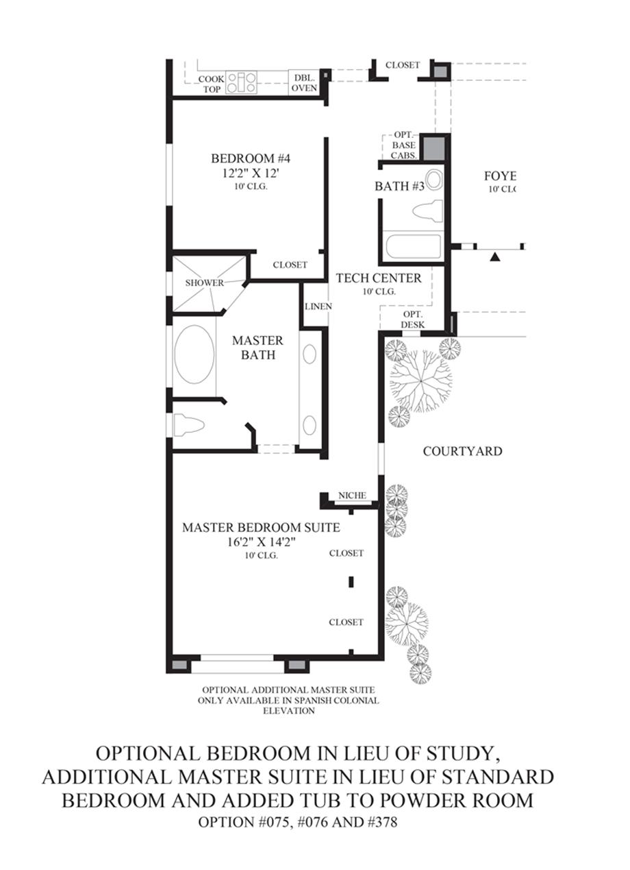 Optional Bedroom ILO Study/Additional Master Suite ILO Bedroom/Tub in Powder Room Floor Plan