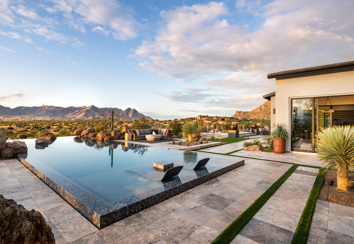Resort-style pool with panoramic mountain views