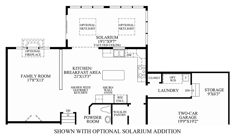 Optional Solarium Addition Floor Plan