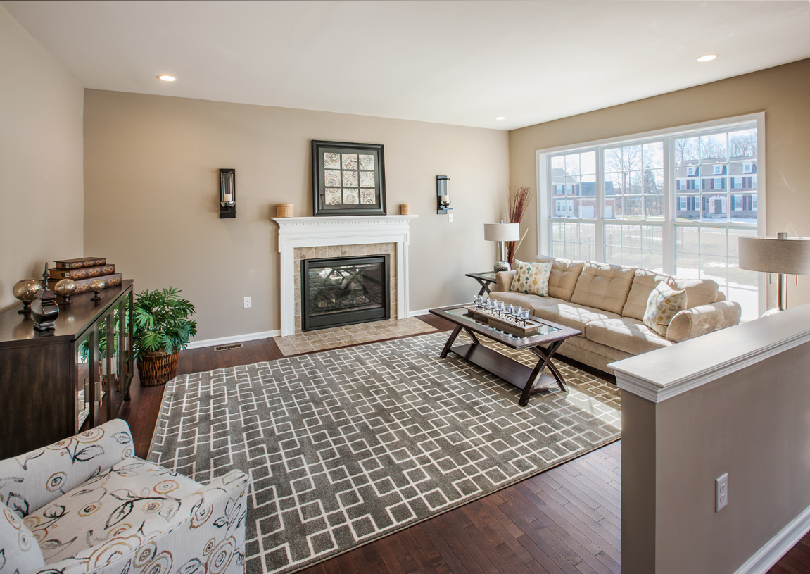 Great room shown with optional fireplace