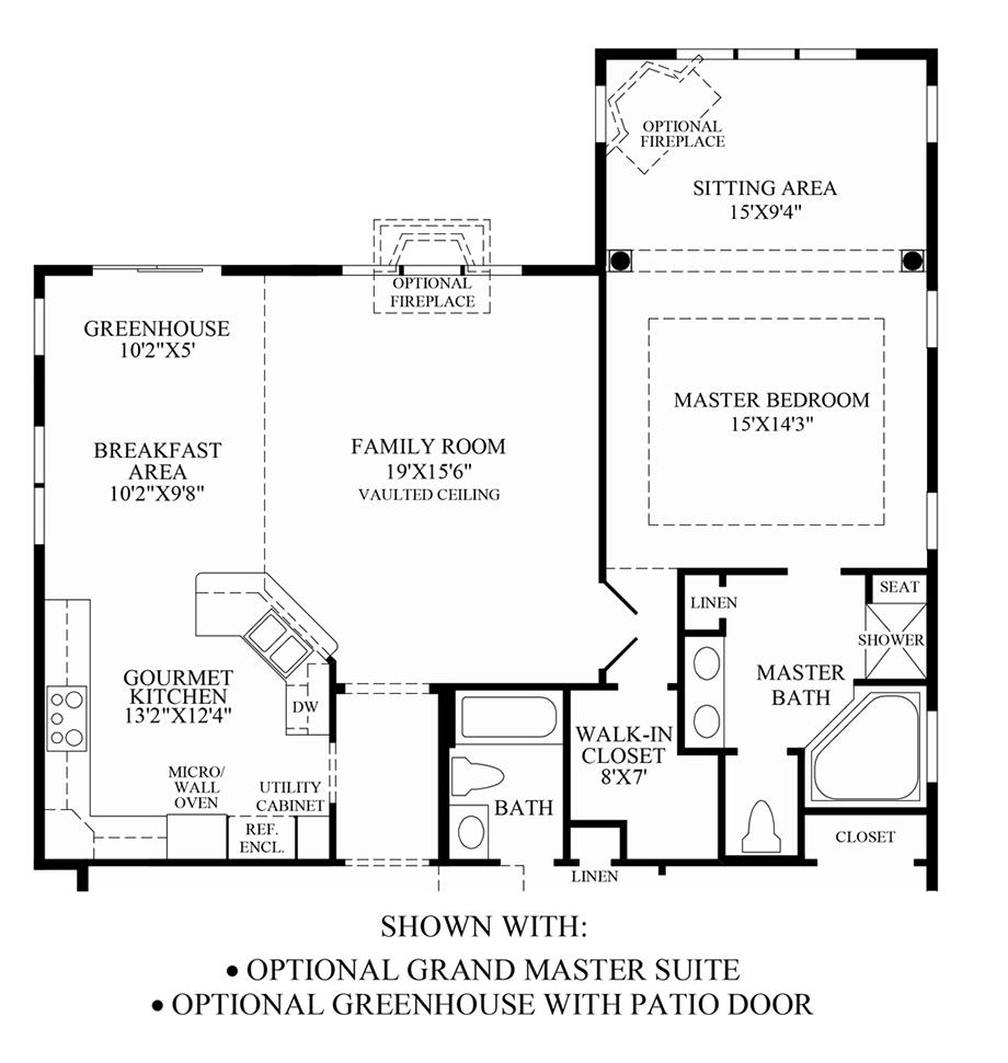 Optional Grand Master Suite/Greenhouse with Patio Door Floor Plan