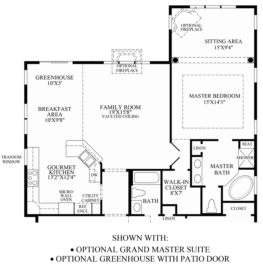 Optional Grand Master Suite/Greenhouse with Patio Door Floor Plan
