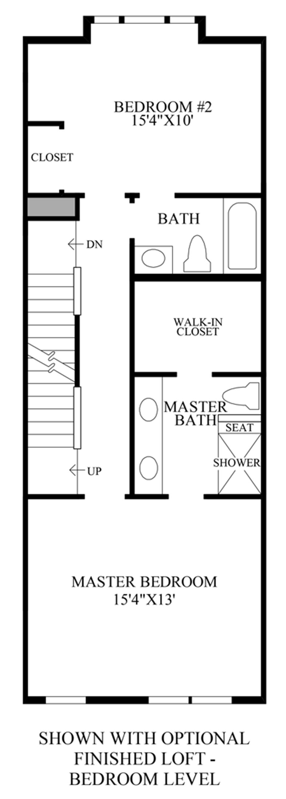 Optional Finished Loft - Bedroom Level Floor Plan