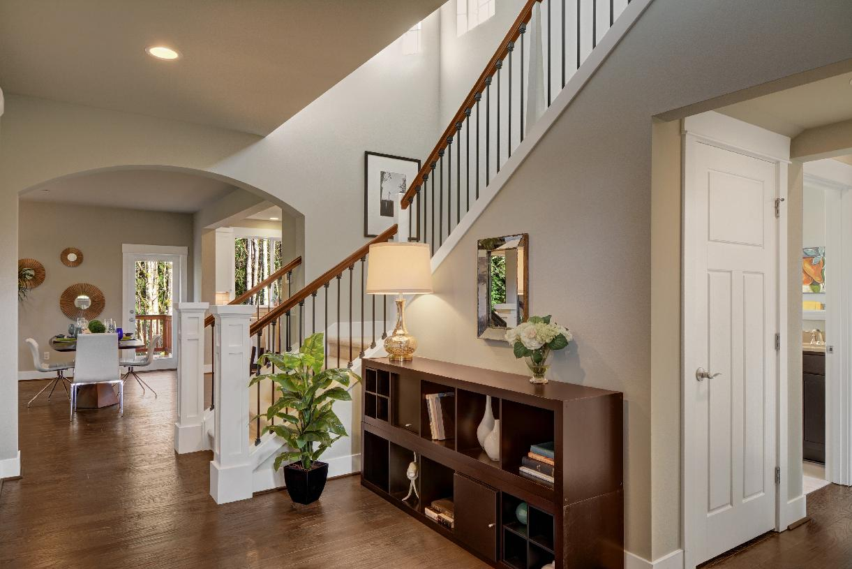 Bright foyer flows into the great room