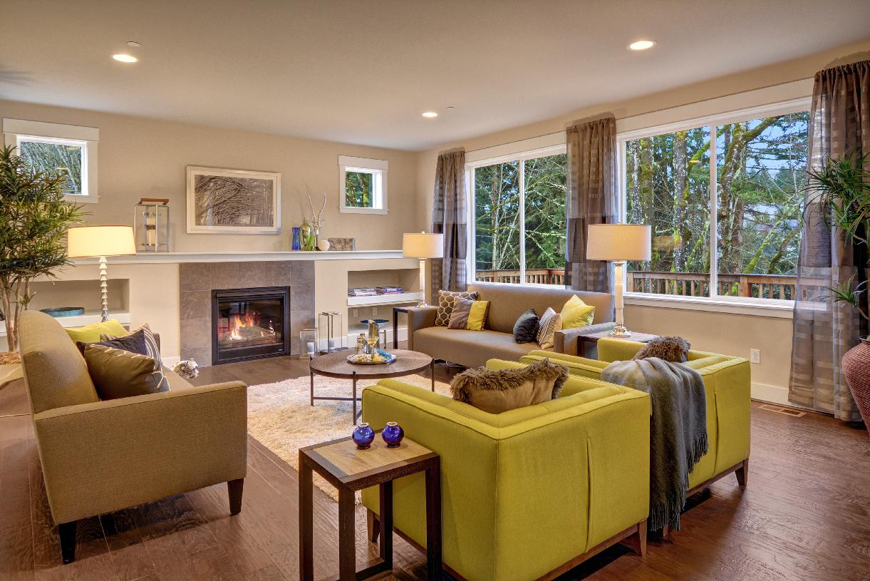 Bright living room with cozy fireplace