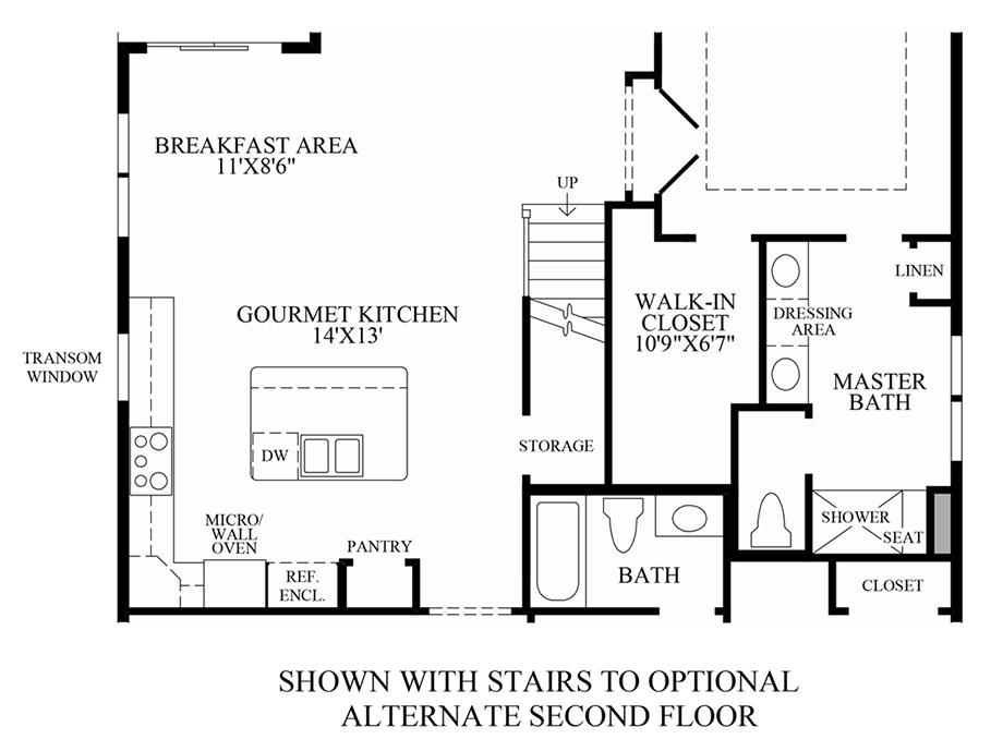 Optional stairs to alternate 2nd floor floor plan - Stairs to second floor design ...